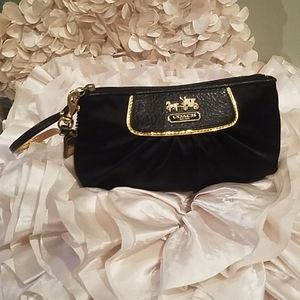 Coach black satin n gold wristlet